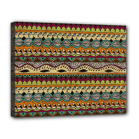 Aztec Pattern Ethnic Canvas 14  X 11