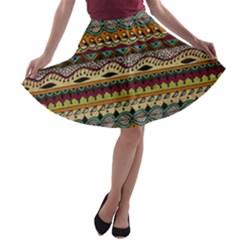 Aztec Pattern Ethnic A Line Skater Skirt