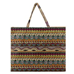 Aztec Pattern Ethnic Zipper Large Tote Bag