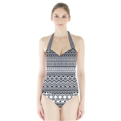 Aztec Pattern Design Halter Swimsuit
