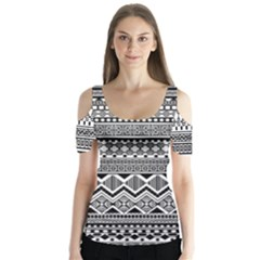 Aztec Pattern Design Butterfly Sleeve Cutout Tee