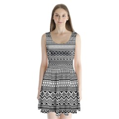 Aztec Pattern Design Split Back Mini Dress