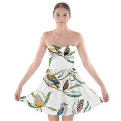 Australian Kookaburra Bird Pattern Strapless Bra Top Dress