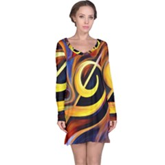 Art Oil Picture Music Nota Long Sleeve Nightdress