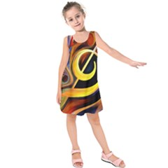 Art Oil Picture Music Nota Kids  Sleeveless Dress