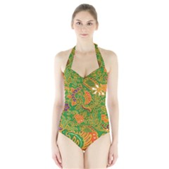 Art Batik The Traditional Fabric Halter Swimsuit