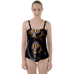 Gas Mask Twist Front Tankini Set