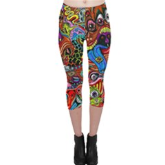 Art Color Dark Detail Monsters Psychedelic Capri Leggings