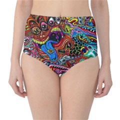 Art Color Dark Detail Monsters Psychedelic High Waist Bikini Bottoms