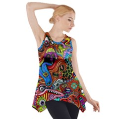 Art Color Dark Detail Monsters Psychedelic Side Drop Tank Tunic