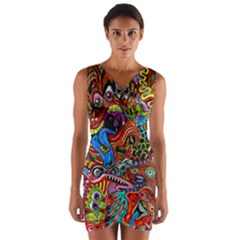 Art Color Dark Detail Monsters Psychedelic Wrap Front Bodycon Dress