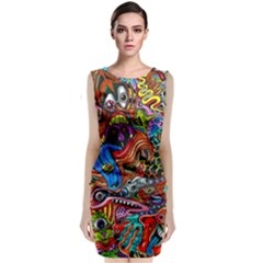 Art Color Dark Detail Monsters Psychedelic Classic Sleeveless Midi Dress