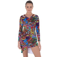 Art Color Dark Detail Monsters Psychedelic Asymmetric Cut Out Shift Dress