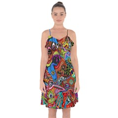 Art Color Dark Detail Monsters Psychedelic Ruffle Detail Chiffon Dress