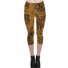 Art Traditional Batik Flower Pattern Capri Leggings