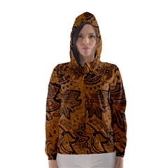 Art Traditional Batik Flower Pattern Hooded Wind Breaker (women)