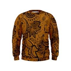 Art Traditional Batik Flower Pattern Kids  Sweatshirt