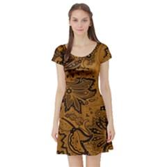 Art Traditional Batik Flower Pattern Short Sleeve Skater Dress