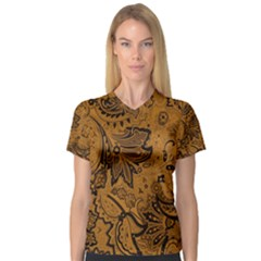 Art Traditional Batik Flower Pattern V Neck Sport Mesh Tee