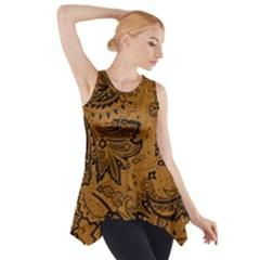 Art Traditional Batik Flower Pattern Side Drop Tank Tunic