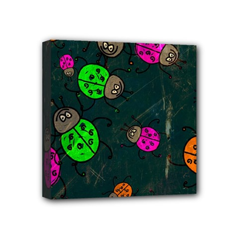 Abstract Bug Insect Pattern Mini Canvas 4  X 4