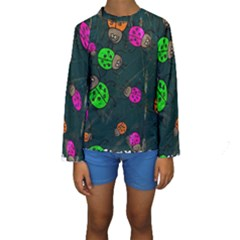 Abstract Bug Insect Pattern Kids  Long Sleeve Swimwear