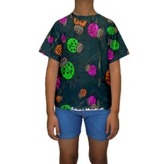 Abstract Bug Insect Pattern Kids  Short Sleeve Swimwear
