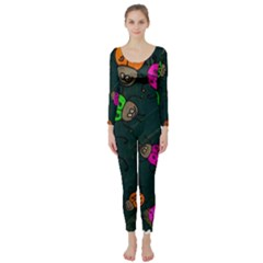 Abstract Bug Insect Pattern Long Sleeve Catsuit
