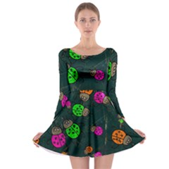 Abstract Bug Insect Pattern Long Sleeve Skater Dress