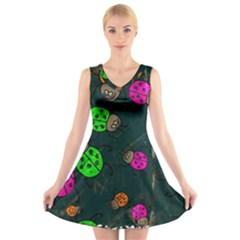 Abstract Bug Insect Pattern V Neck Sleeveless Skater Dress