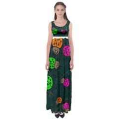 Abstract Bug Insect Pattern Empire Waist Maxi Dress