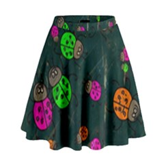 Abstract Bug Insect Pattern High Waist Skirt