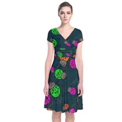 Abstract Bug Insect Pattern Short Sleeve Front Wrap Dress