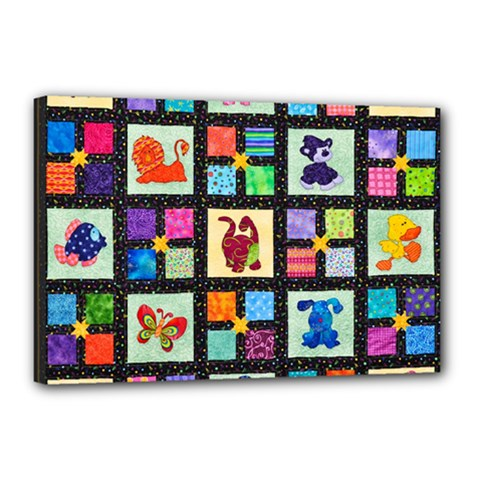 Animal Party Pattern Canvas 18  X 12