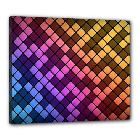 Abstract Small Block Pattern Canvas 24  X 20