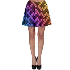 Abstract Small Block Pattern Skater Skirt
