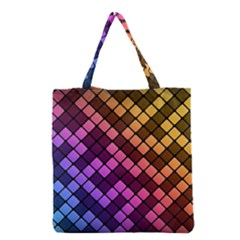 Abstract Small Block Pattern Grocery Tote Bag