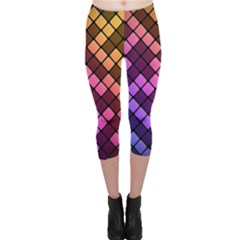 Abstract Small Block Pattern Capri Leggings