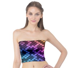 Abstract Small Block Pattern Tube Top
