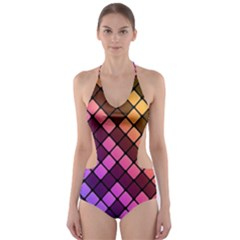 Abstract Small Block Pattern Cut Out One Piece Swimsuit