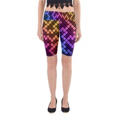 Abstract Small Block Pattern Yoga Cropped Leggings