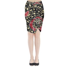 Art Batik Pattern Midi Wrap Pencil Skirt