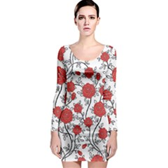Texture Roses Flowers Long Sleeve Bodycon Dress