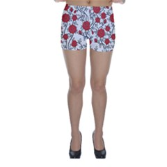 Texture Roses Flowers Skinny Shorts