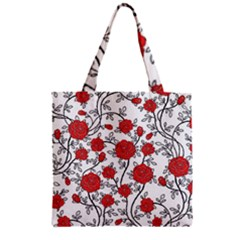 Texture Roses Flowers Zipper Grocery Tote Bag