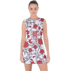 Texture Roses Flowers Lace Up Front Bodycon Dress