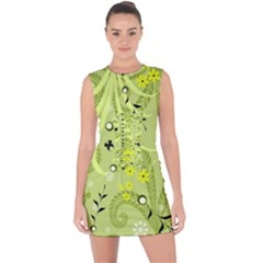 Flowers On A Green Background                                Lace Up Front Bodycon Dress