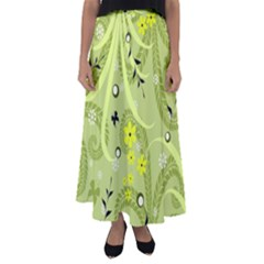 Flowers On A Green Background                          Flared Maxi Skirt