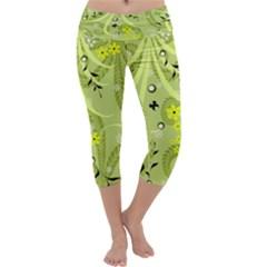 Flowers On A Green Background                             Capri Yoga Leggings