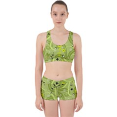 Flowers On A Green Background                            Work It Out Sports Bra Set